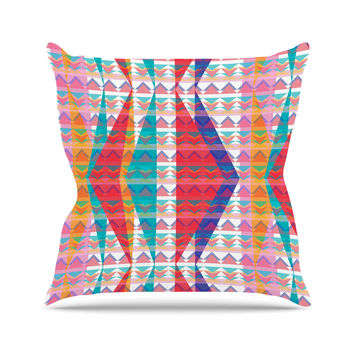 "Miranda Mol ""Triangle Illusion"" Multicolor Geometric Outdoor Throw Pillow"
