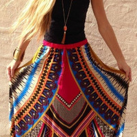 Retro Print Swing Skirt