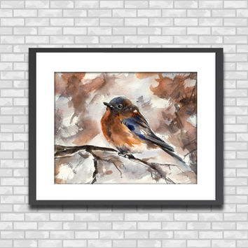 Robin Bird on Branch, Watercolor Painting Art Print, Bird Wall art