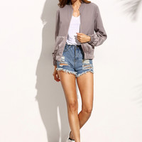 Color Block Pocket Zipper Front Long Sleeve Jacket
