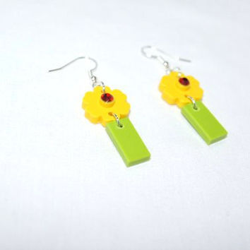 Yellow Lego Flower Earrings