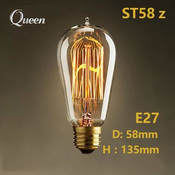 40W Retro lamp edison bulb st64 vintage Socket DIY Rope Pendant 27 incandescent bulb 220v holiday lights filament lamp lampada