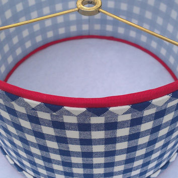 Drum Lamp Shade Navy Blue Checks/Gingham/Preppy Cute/ Designer Upholstery Fabric/ Red Grosgrain Ribbon/Handmade Bias Trim  Brass Washer Top