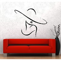 Wall Vinyl Sticker Decal Sexy Girl Fashion Woman Hat Shopping Beauty Unique Gift (ed477)
