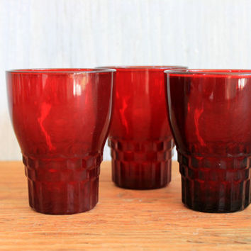 "set of 3 Anchor Hocking Royal Ruby ""Windsor"" tumblers // vintage glasses // mid century // juice glasses"