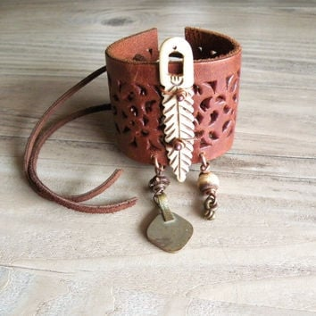 Tribal Leather Cuff with Bone Feather, Gypsy Coin and African Brass, Adjustable Wide Bracelet