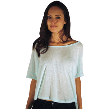 Mint Slub Cotton Burn Out T-shirt