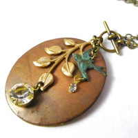Natures Splendor Locket Necklace, Vintage Copper and Brass Locket with Leaves and Vertigris Bird on Long Chain, Handmade Jewelry