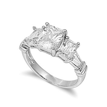 925 Sterling Silver CZ Three-Stones Princess Cut Ring 9MM
