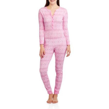Fruit of the Loom Women's Waffle Thermal Union Suit, Pink, XS/S