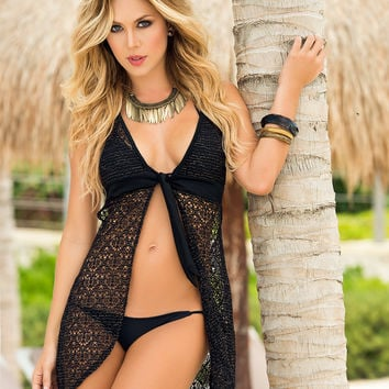 Black Crochet Style Dress -Swimwear Cover Up
