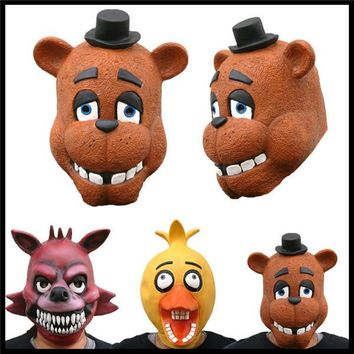 Halloween Adult Latex Baby Chica Freddy Fezbeer Foxy  at  4 Adult Mask  Cosplay Costume Toy