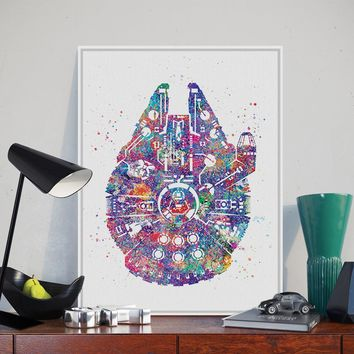 Original Watercolor Star Wars Ship Pop Movie A4 Art Prints Poster Abstract Wall Picture Canvas Painting No Frame Kids Room Decor