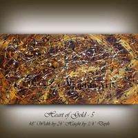 """Gold Brown Abstract Painting, Jackson Pollock Style 48"""" Acrylic Painting, Contemporary Wall Art, Office Decor, Home Decor by Nandita Arts"""