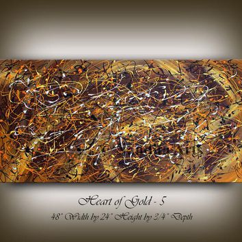 "Gold Brown Abstract Painting, Jackson Pollock Style 48"" Acrylic Painting, Contemporary Wall Art, Office Decor, Home Decor by Nandita Arts"
