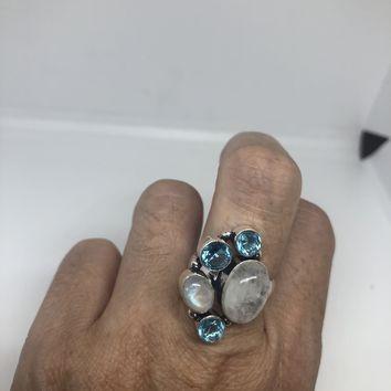 Vintage Large blue white ranbow moonstone and blue topaz stone silver ring