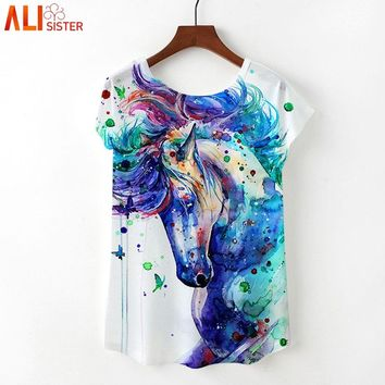 Alisister Women Painting Art T Shirts Print Rainbow Unicorn Pony T-shirt Horse/Grumpy Cat/Marilyn Monroe Flamingos Tees Tops