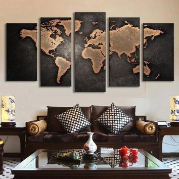5 Pieces Modular Pictures for Home Abstract Wall Art Painting World Map