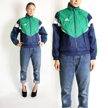 Vintage 80's 90's Adidas Green Navy Blue White Stripes Sport Track Jacket, Adidas Windbreaker, Trefoil Jacket - Small Petite