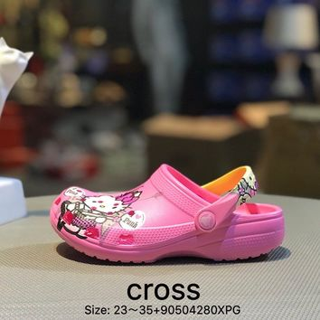 Cross Tunnel shoes Baotou thick bottom antiskid and cool towed pink kid beach shoes sandals