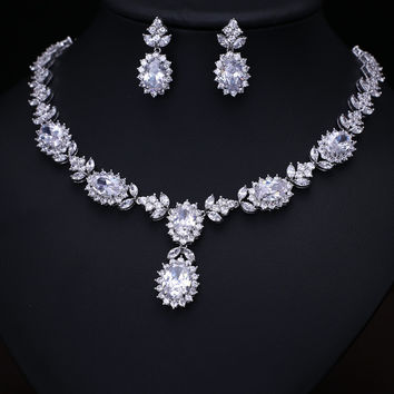 Platinum Plated AAA Cubic Zircon Jewelry Set