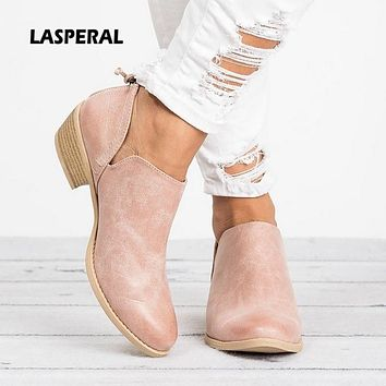 2019 Spring Ankle Women Boots Square Heel Slip On Women Female High Heels Single Shoes Pointed Toe Casual Ladies Fashion
