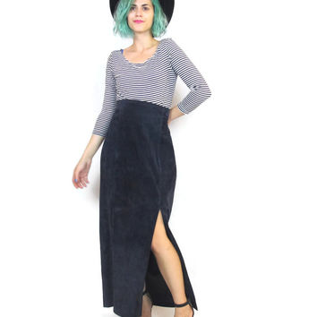 80s 90s Suede Leather Maxi Skirt Navy Blue High Waisted Column Bodycon Pinup Wiggle Skirt (L/XL)