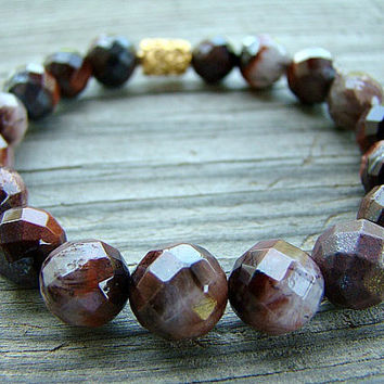 Women's Jewelry, Brown Gemstone Stretch Bracelet, Tigereye Gemstone and 24k Vermeil Bali Barrel Bead Stacking Bracelet, Statement Bracelet