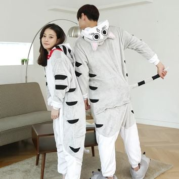 Female Mink Fleece Nightgown Girls Men Home Furnishing Siamese Cat Winter Pajamas Cartoon Animal Lovers Convenient Toilet
