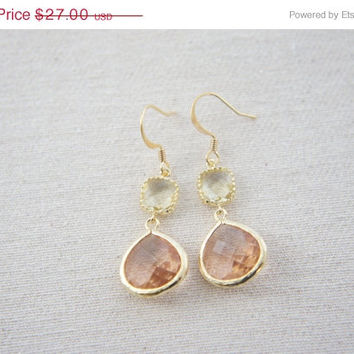 10% OFF Jonquil lemon yellow and peach pink silver earrings, wedding, bridesmaid, gift