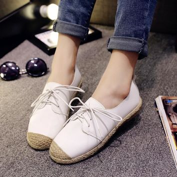 Spring\Summer Korean Style Round Toe Lace-Up White Flat Casual Shoes Woman Patchwork Hemp Rope Retro women Espadrilles Shoes