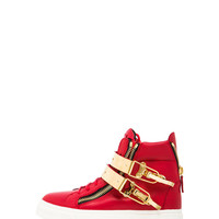Buckled London Leather Sneakers in Flame