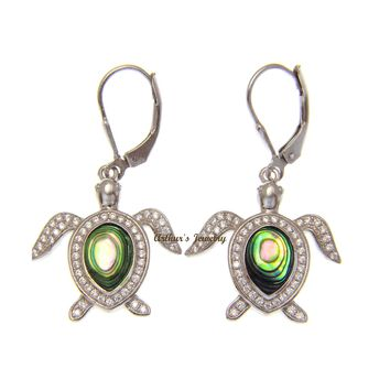 ABALONE PAUA SHELL 925 SILVER HAWAIIAN SEA TURTLE LEVERBACK EARRINGS CZ 21MM