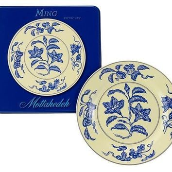MOTTAHEDEH Ming Yellow and Blue Tin Picnic Plates