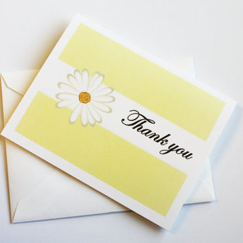 Set of 6 Daisy Thank You Cards Thank You Notes