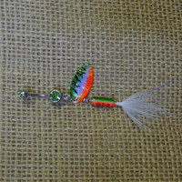 Green, Orange, and White Rooster Tail Fishing Lure Navel Belly Button Ring For Fishing Country Girl