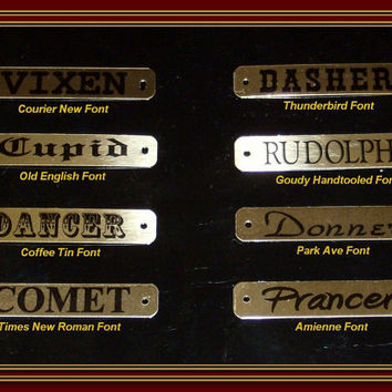 1 Custom BRASS HORSE Halter Bridle Dog Collar NAME Personalized Plate Tag with Chicago Screws Satin Gold Black Lettering 5/8 in. X 3 1/2 in.