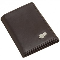Fox Head Brown Leather Trifold Wallet