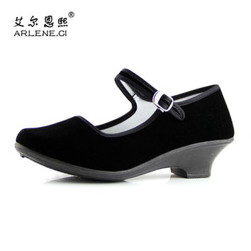 Women Black Square Dance Shoes Red Color High Heels Pumps 5cm Soft Sole Sapatilhas Canvas Ballerina Ballet Shoes Plus Size10