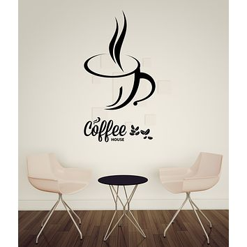 Large Vinyl Decal Coffee Cup Coffee Beans Cafe Bar Kitchen Wall Sticker Decor (n1020)
