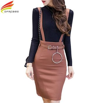 Plus Size Formal Ladies Office Skirt With Strap Spring 2017 High Waist Bodycon Pencil Skirts Womens Black Khaki Work Wear Summer