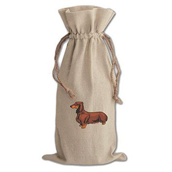 Canvas Wine Cotton Drawstring Bag Dachshund By Style In Print