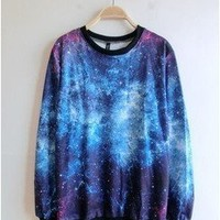 Women's Galaxy Space Starry Print Girl Long Sleeve Top Round T Shirt Blue&purple