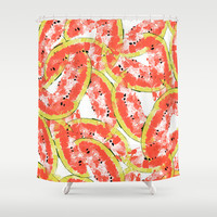 Watermeleon Slices Shower Curtain by Rui Faria
