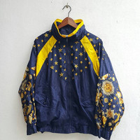 Vintage 90's Baroque Gold Chain Royalty Medusa Star Sun Art Navy Blue nylon Hip Hop Fashion Zippered Jacket Size L