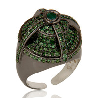 Victorian Estate Style Pave Tsavourite and Emerald Gemstone Silver Dome Ring