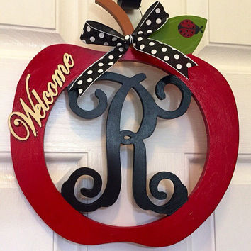 Wooden Apple door hanger, Apple decor, Teacher wall hanger, monogram wall hanger, teacher gift