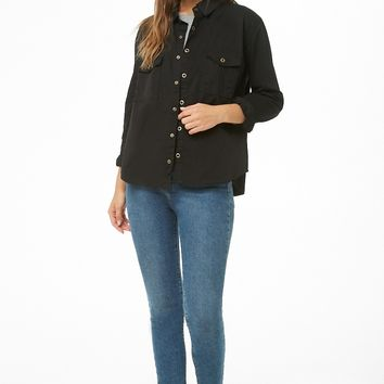 Curved-Hem Cotton Shirt
