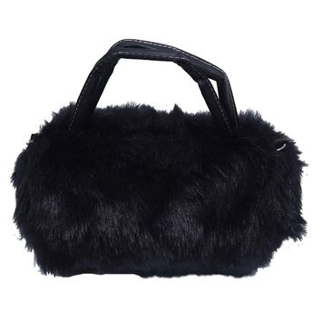 ASDS Lovely Fur Leather Handbag Shoulder Bag Winter Black