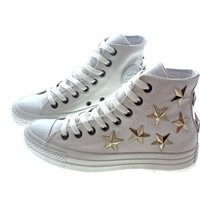 Studded Converse Silver Star with Converse all white hi top